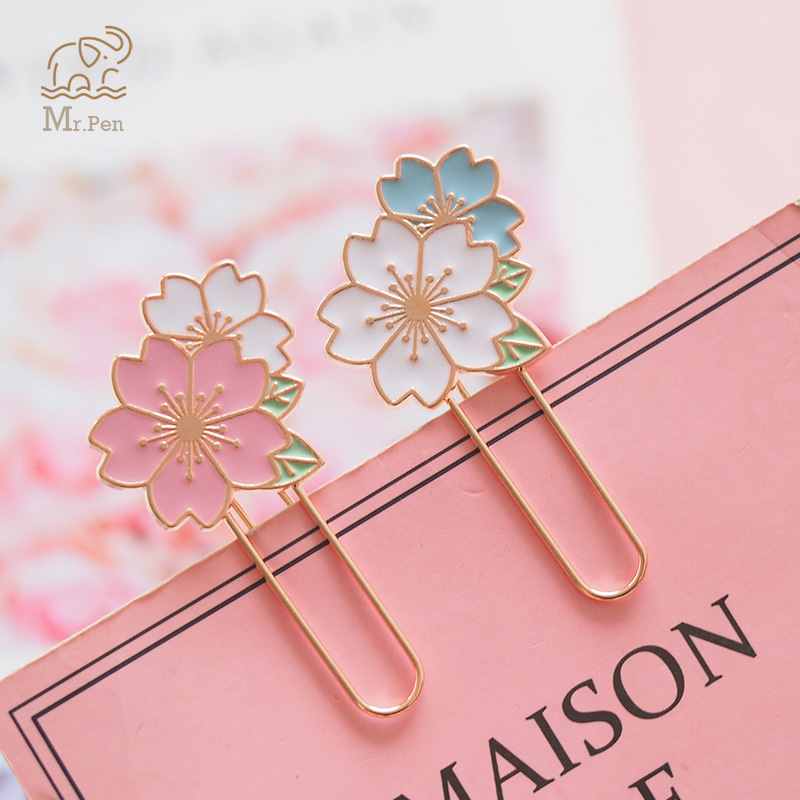 2pcs Cherry Blossoms Paper Clip Bookmark Promotional Gifts Kawaii Stationery Metal Sukura Book Marker School Office Supply