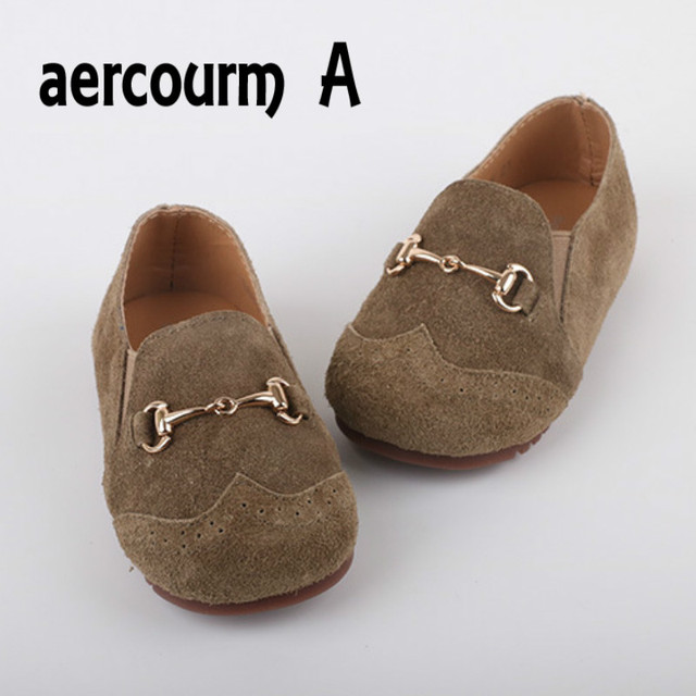 Aercourm A Brand 2017 Boys Girls Genuine Leather Shoes Soft Boat Shoes Light-weight Flat Casual Spring Children Shoes Size 21-29