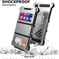 For iPhone X Original R JUST Flip Case Iron Man Shockproof Metal Aluminum Anti knock Case Cover for iPhone X For iPhone 10