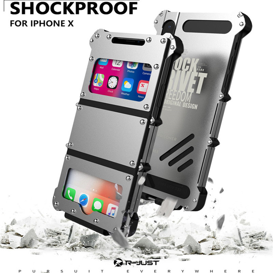 Für iPhone X Ursprüngliche R-JUST Flip Fall Iron Man Stoßfest metall Aluminium antiklopf Fall-abdeckung für iPhone X Für iPhone 10