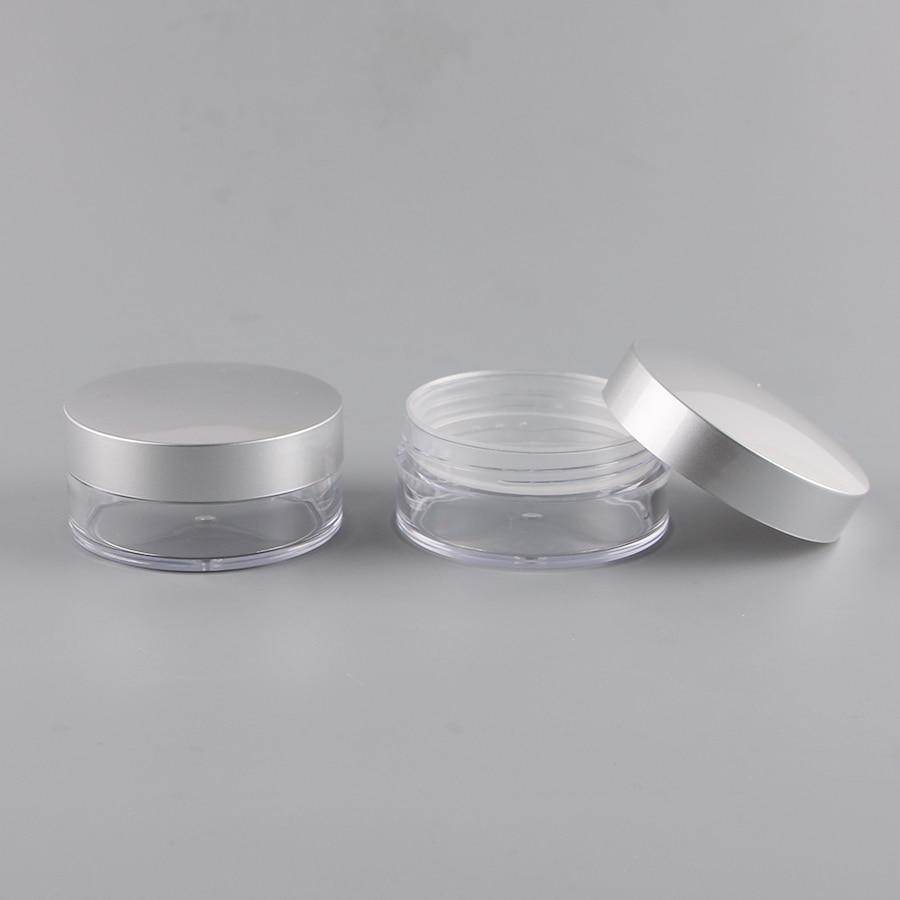 50 STKS 50 ML Clear Plastic Losse Poeder Case Met 2 Vorm Van Zeefje, draagbare Cosmetische Pot Met Zilveren Cover, hoogwaardige Make-in Hervulbare Flessen van Schoonheid op  Groep 2