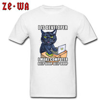 Funny Personalized T-Shirt 100% Cotton Short Sleeve Hip hop Tops Tees Crew Neck Black Cat With Computer Graphic T Shirt