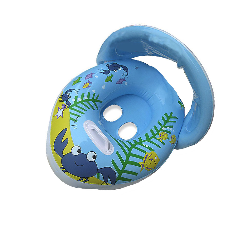 1PC  Kids Inflatable Swimming Ring Crab Pattern Summer Steering Wheel Parasol Car Model Water Toy Swimming Accessories