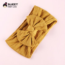 1PCS 2019 New Cable Knited Headband Soft Rabbit Bowknot Turban Hair Bands for Children Girls Elastic Headwrap Hair Accessories(China)