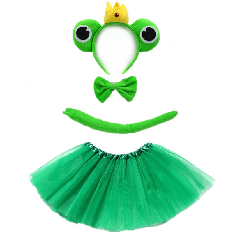 Green Frog Prince Cosplay Headband Tutu Skirt Tie Tail Set Kids Children Birthday Party Props  Animal Costume Halloween Gift