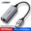 Ugreen USB Ethernet Adapter USB 3.0 2.0 Network Card to RJ45 Lan for Windows 10 Xiaomi Mi Box 3 Nintend Switch Ethernet USB