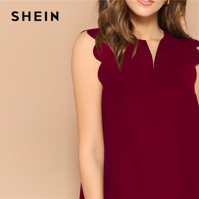 SHEIN Lady Solid V-Neck Scallop Trim Trapeze Mini Dress Women Clothes 2019 Casual Sleeveless Loose Tank Summer Dress 5