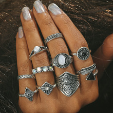 HOCOLE Fashion Leaf Stone Midi Ring Sets New 2017 Vintage Crystal Opal Knuckle Rings for Women Anillos Mujer Jewellery 10PCS/Lot