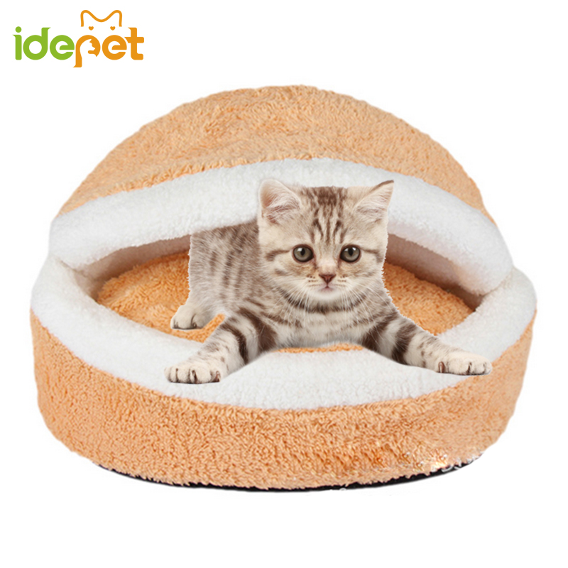 Hamburger House For Cats Shell Design Pet Cat Bed Cat House Cozy Nest Removable Windproof Winter Pet Sleeping Bag Cat Supplies 3