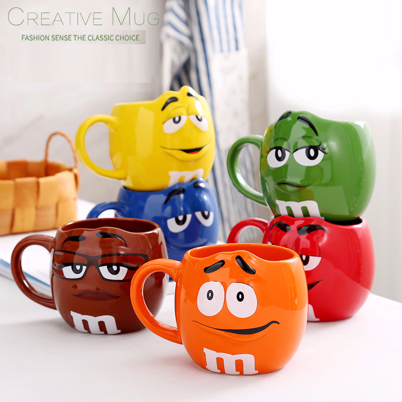 M&M bean large capacity coffee mugs breakfast tea milk cups and mugs with spoon ceramic expression drinkware 500ML taza de m&m