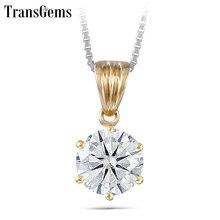 TransGems Solid 14K Yellow Gold 1 Carat 6.5mm F kolor Moissanite diamentowy pasjans slajdów wisiorek dla kobiet prezent na ślub/urodziny