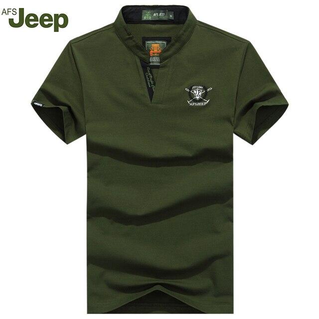 AFS JEEP 2016 Hombres Camisa de Polo nuevo verano moda casual solapa de la camisa de Polo de manga corta Camisas de Polo de color sólido 4 colores 50