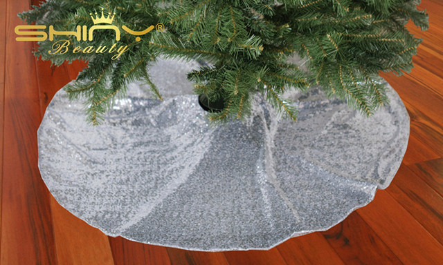 Xmas Tree Skirts Silver Sequin Skirt For Christmas Decoration 48inch A