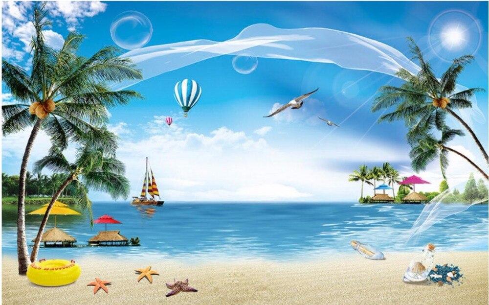 Custom 3 D Photo Wallpaper Wall Murals 3d Wallpaper Beach: Custom Mural Photo 3d Wallpaper Beach, The Coconut Trees