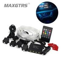 Newest Car Flexible LED Universal Led Fiber Atmosphere Lights 12V Car Auto Interior Decoration Light Foot Lamp Remote Control