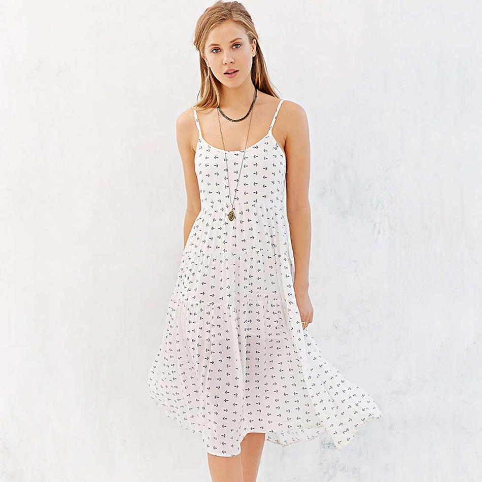 e2051285243 2016 Summer new women fashion sexy strap cake mid length loose chiffon  print casual dresses beach dress SD2908-in Dresses from Women s Clothing on  ...