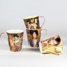 Nueva impresión abstracta pintura clásica taza de café taza creativa de Hábitat Retrato de Adele Bloch Bauer Klimt Beso taza de regalo