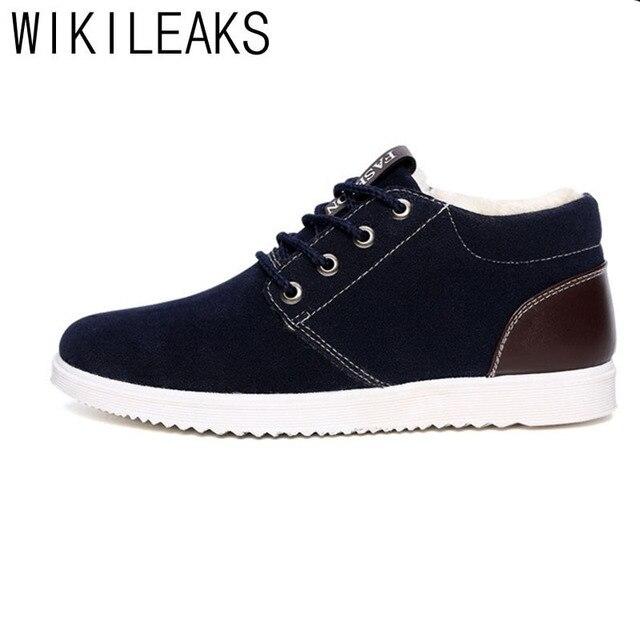 Wikileaks Новый Зима Теплая Горячие Мужчины Случайные Хлопка Качества Обувь Мужчины босоножки Из Замши Меховой Обуви Мужчины Волнистые Обувь Подошвой Толстые Ботинки Снега
