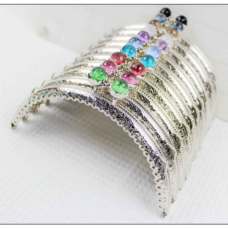 12.5cm Super Beautiful Lotus Candy Color Buckle Carved Silver Metal Coin Bag Clasp Women Purse Frame 5pcs/lot