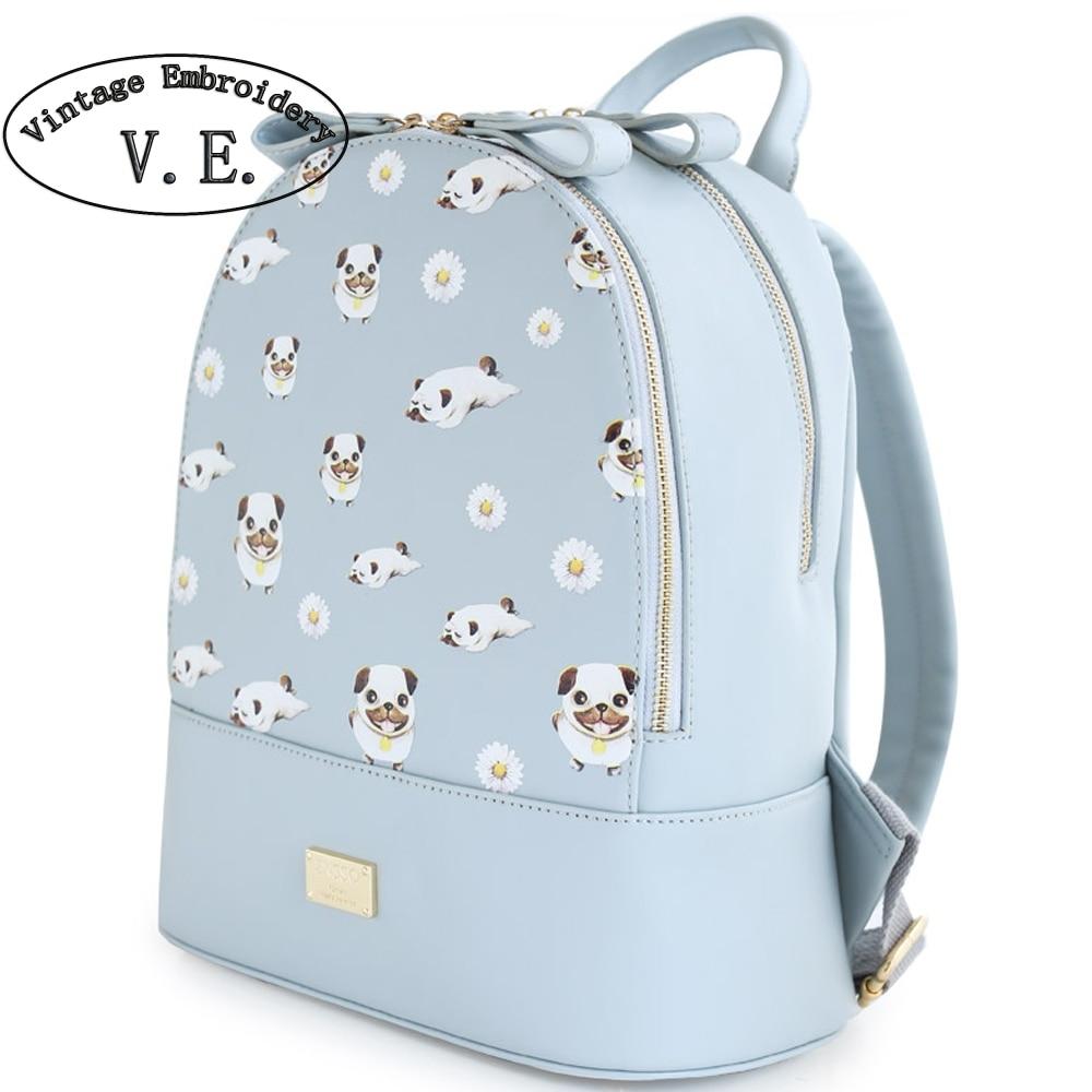 ФОТО Vintage Embroidery Women Backpack Animal Prints Dog Mori Girl's Zipper PU Leather Book Bag Rucksace Shoulder Bags