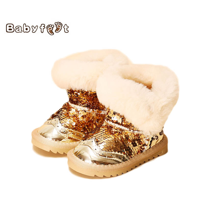 New Fashion Winter Baby Boots Warm Girls Shoes Thick Sequins Toddler Bling Snow Boot Waterproof Casual Shiny Soft Sole Size 6-11