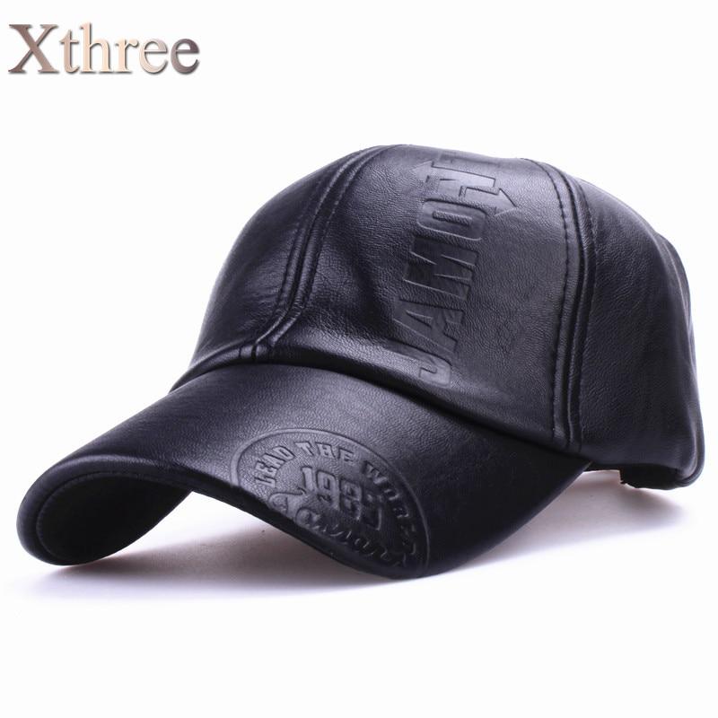 Xthree New fashion high quality fall winter men leather hat Cap casual moto snapback  hat men s bb798ba70776