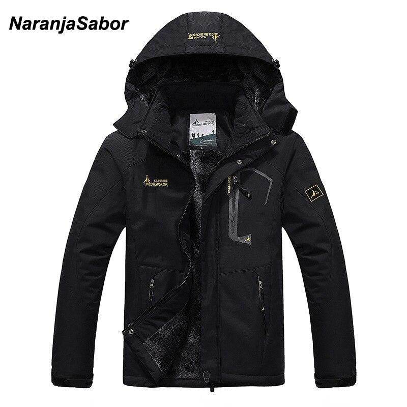 NaranjaSabor 2019 Autumn Winter Mens Jackets Fleece Thick Men's Coat Windbreaker Breathable Waterproof Male Mens Clothing 6XL