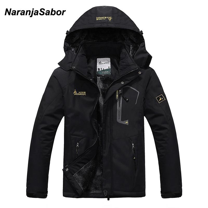 NaranjaSabor 2018 Autumn Winter Mens Jackets Fleece Thick Men's Coat Windbreaker Breathable Waterproof Male Mens Clothing 6XL