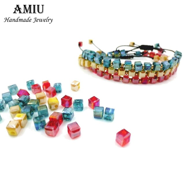 AMIU Handmade 2018 Colorful Cube Crystal Bracelets Popular Custom Woven Trendy Brazilian Bracelets For Women Men Dropshipping