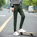 2016 Hot Autumn Jogger Pants Men Solid Fashion Ankle-tied Slim Fit Youths Mens Joggers Trousers army green Elastic waist
