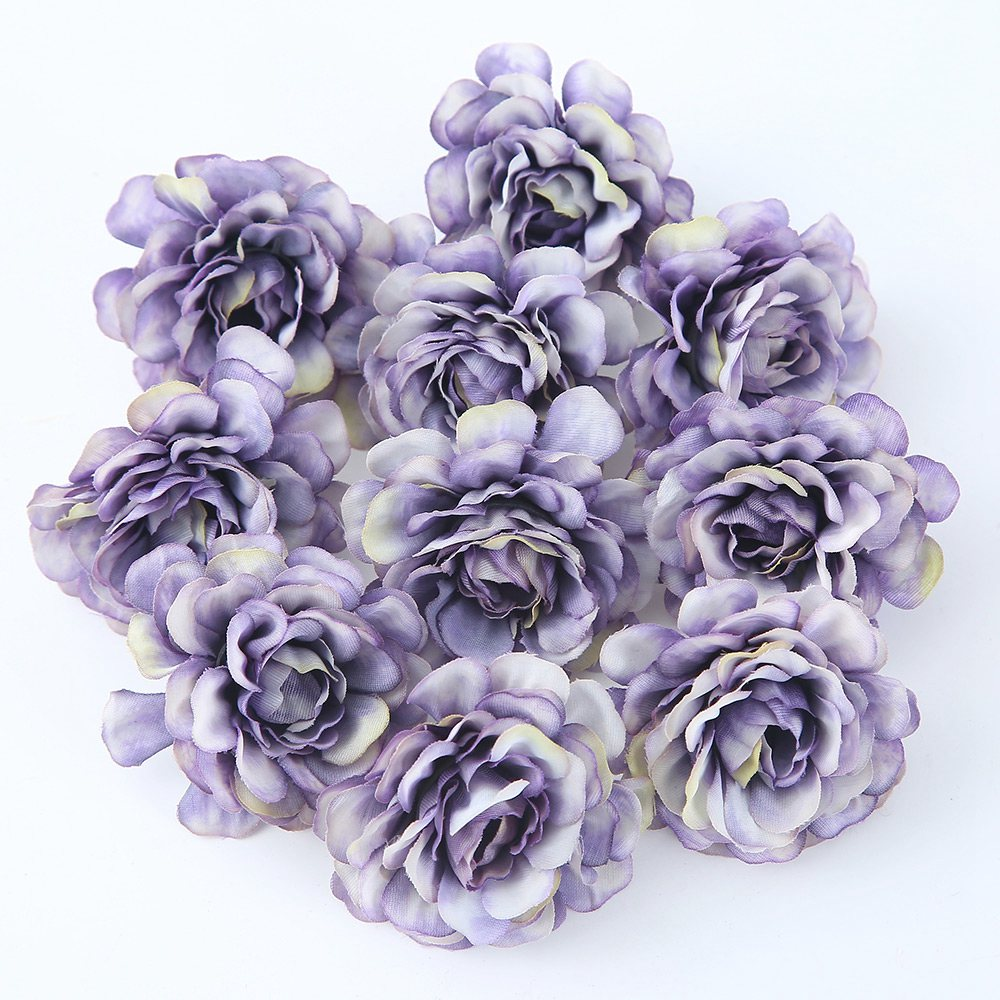 10pcs/lot 5CM Silk Rose Head Artificial Flowers For Wedding Party And Home Decorations 1