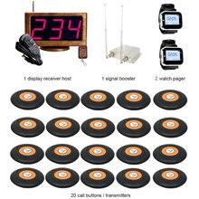 JINGLE BELLS Kablosuz Garson Çağrı Sistemi Restoran, otel 20 çağrı düğmesi + 1 ana host + 2 izle çağrı cihazı + 1 sinyal güçlendirici