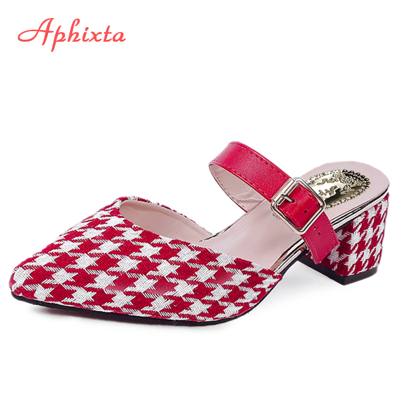 Aphixta 2018 Spring Ladies Slipper Pointed Toe Woman Slippers Slip On Buckle Summer Loafers Mules Flip Flops Women Sandals suojialun brand 2018 autumn women luxury mules slippers pointed toe half slippers slip on loafers mules flip flops