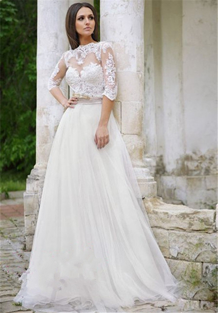 Romantic 3/4 Sleeves Lace Bridal Wedding Gown High ... Lace Romantic Vintage Wedding Dresses With Sleeves