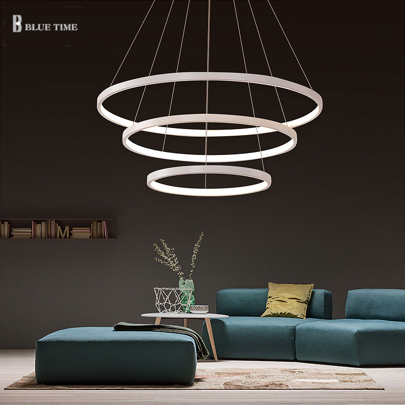 40 60 80 100cm modern led pendant lights lamparas 3 circle rings led pendant lamp dining living
