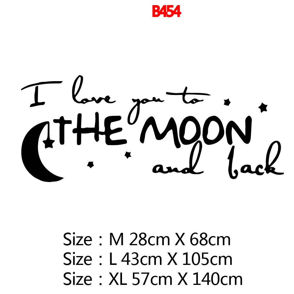 Amusing I love you to the moon Sentence Wall Stickers Personalized Creative For Kids Room Living Room Home Decor Decal Mural in Wall Stickers from Home Garden