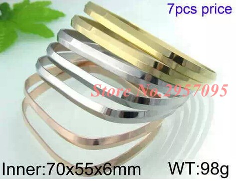Hot Brand Jewelry 7Pcs Round Bangle Gold Color 316L Stainless Steel Women/Men Religious Islamic Bangle Bracelet