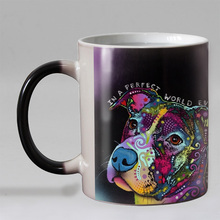 Colorful printed Heat Reveal Coffee mug  gift for dog lover