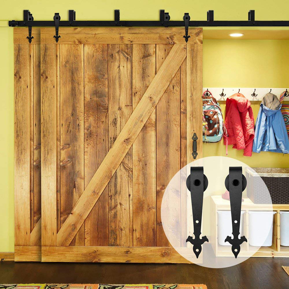 LWZH Sliding Wood Door Bypass Sliding Barn Door Hardware Kit Black Steel Track Rollers For Interior Double Door