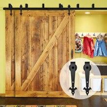 LWZH Sliding Wood Door Bypass Sliding Barn Door Hardware Kit Black Steel Track Rollers for Interior Double Door