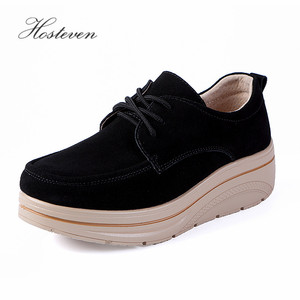 Image 4 - Hosteven Women Shoes Sneakers Flat Loafers Platform Cow Suede Leather Spring Autumn Ladies Moccasins Female Shoe