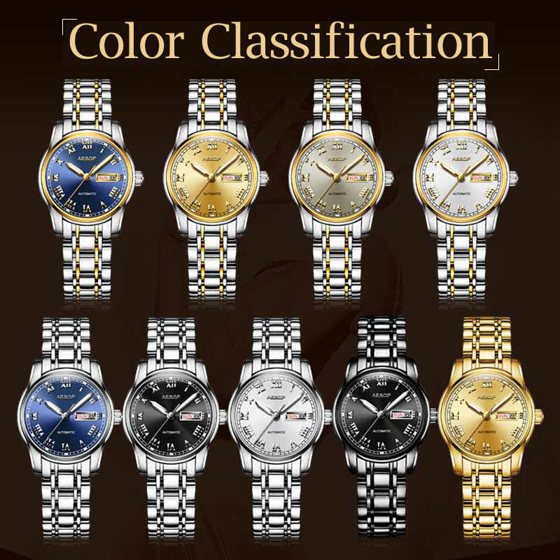 イソップ女性腕時計レディース日本の動き自動機械式ステンレス鋼自動日付週表示発光レロジオ時計