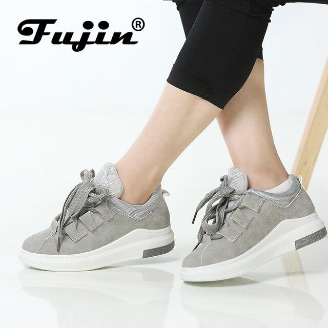 Fujin Marka 2019 bayanlar ayakkabı platform ayakkabılar sneakers kadın sonbahar ayakkabı için kadın flats dantel up nefes spor rahat