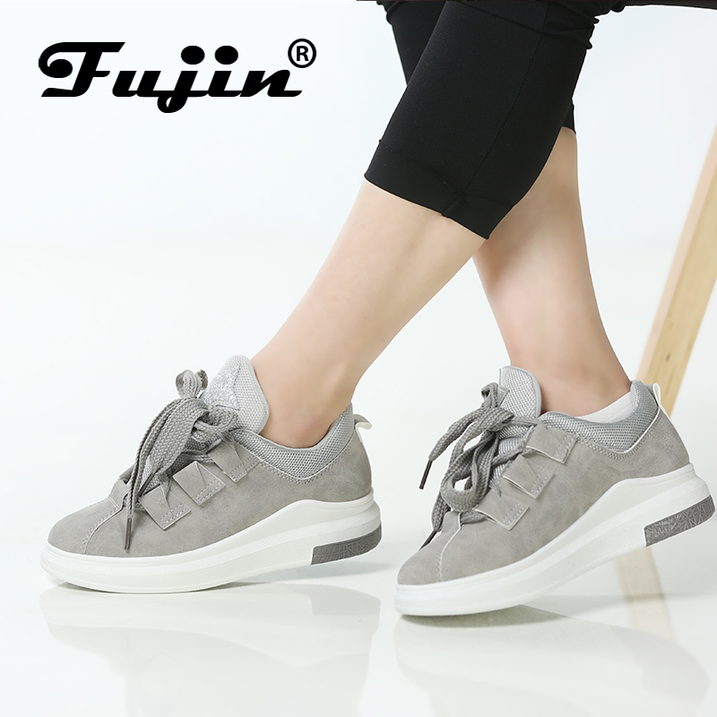 Fujin marca 2018 zapatos de mujer zapatos de plataforma zapatillas de deporte de las mujeres zapatos de otoño zapatos para las mujeres pisos encaje transpirable deporte casual