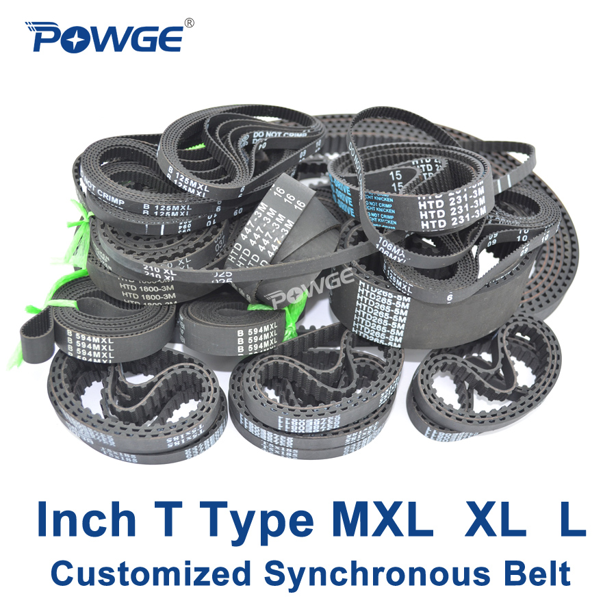 POWGE Inch T Type MXL XL L synchronous Pitch 0.08/0.2/0.375 Customized production all kinds of Trapezoid MXL XL L Timing BeltPOWGE Inch T Type MXL XL L synchronous Pitch 0.08/0.2/0.375 Customized production all kinds of Trapezoid MXL XL L Timing Belt