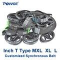 POWGE pulgadas T tipo MXL XL L paso sincrónico 0,08