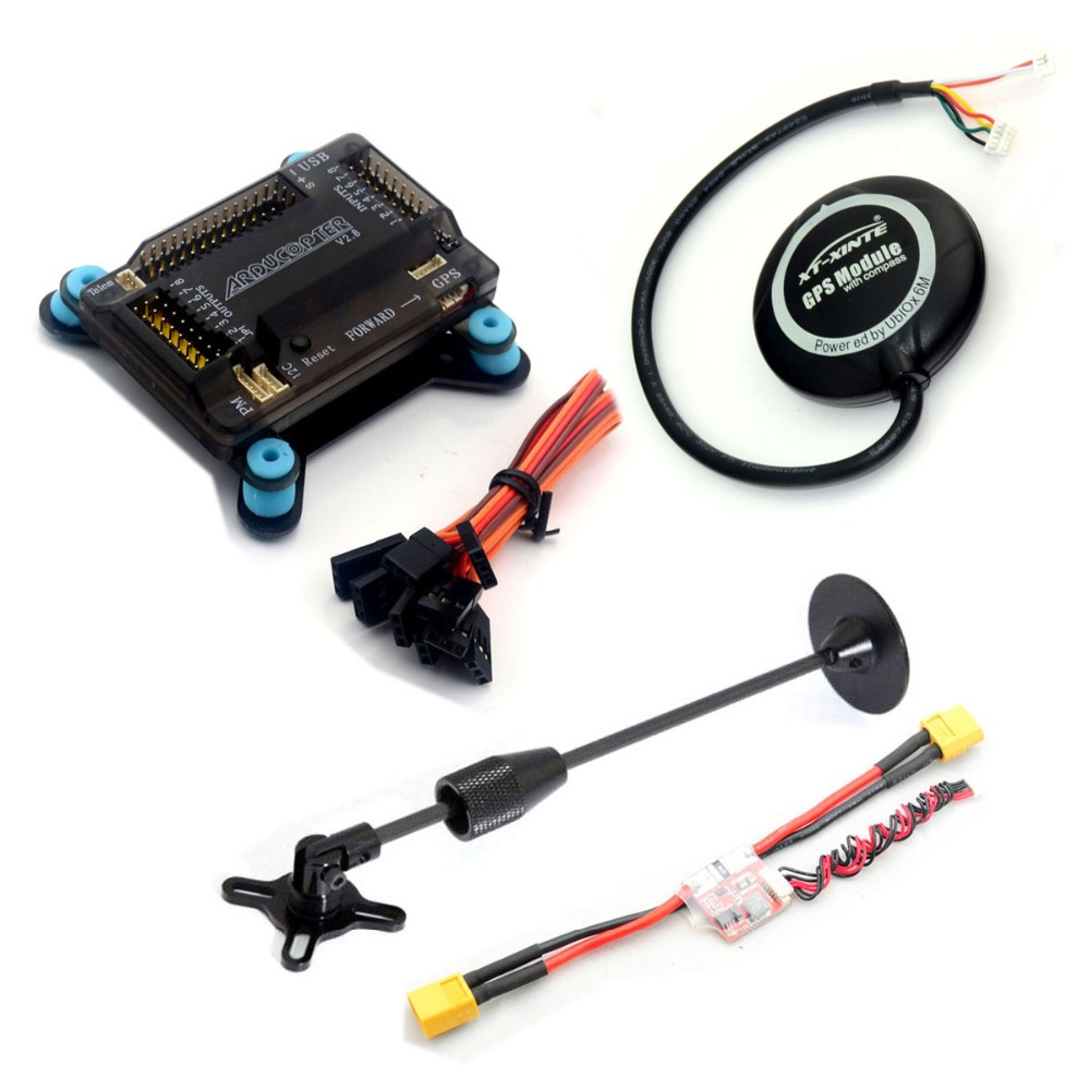 ФОТО APM2.8 ArduPilot Mega 2.8 External Compass APM Flight Controller Board +NEO-6M GPS + Power Module + Cable for Multicopter