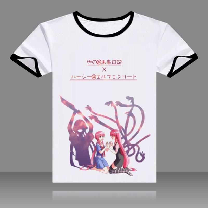 New Summer Anime T Shirt Future Diary T-shirt Mirai Nikki Amano Yukiteru Gasai Yuno Cosplay Short Sleeve O-Neck Tees
