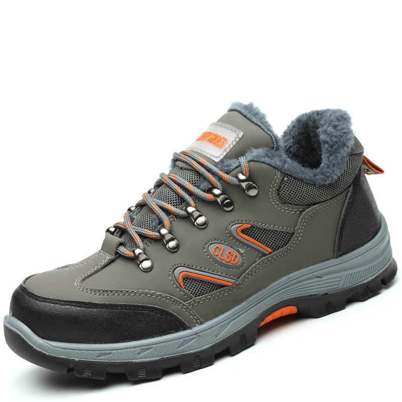 Cómodas fundas para dedos de los pies de acero de gran tamaño para hombres, zapatos de seguridad de trabajo, zapatos de seguridad de cuero suave, plataforma antiperforación, herramientas, botas de seguridad, protección