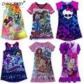 Монстр элла платье принцессы дети одевается одежда для девочек с тех пор высокие монстр платье мультфильм девочка одежду из 6 - 14 лет